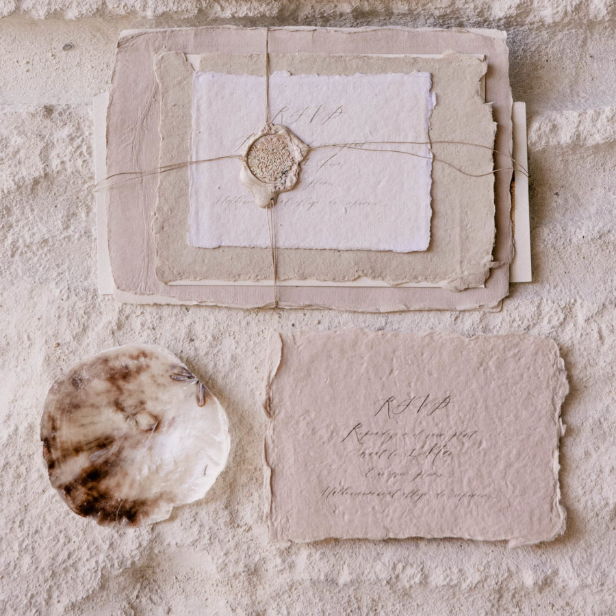 Wedding invitation with hand made paper. The ultimate chic wild luxury